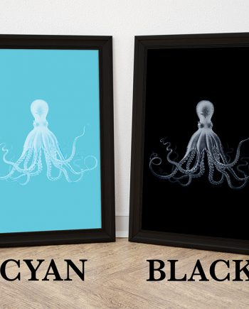 Lord Bodner's Octopus Art Print 5 colors Sea Squid Vintage Nautical Decor Ocean Wall Art - Giclee Print on Cotton Canvas and Paper Canvas