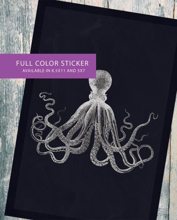 Lord Bodners Octopus Art Print Nautical Decor Sticker