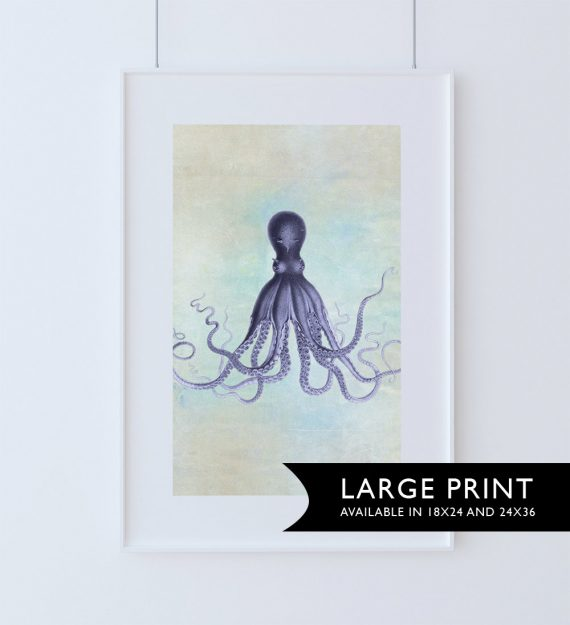 Lord Bodner's Octopus Art Print Sea Squid 18x24 24x36 Vintage Nautical Decor Ocean Wall Art - Giclee Print on Cotton Canvas and Satin Photo