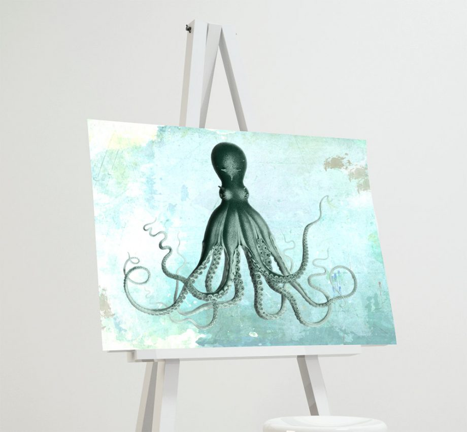 Lord Bodner's Octopus Art Print Sea Squid 18x24 24x36 Vintage Nautical Decor Ocean Wall Art - Large Giclee Print on Cotton Canvas and Satin