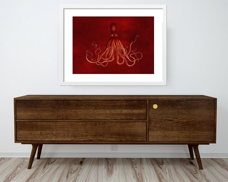 Lord Bodner's Octopus Art Print Sea Squid Vintage Nautical Decor Ocean Large Poster Wall Art Giclee on Satin or Cotton Canvas