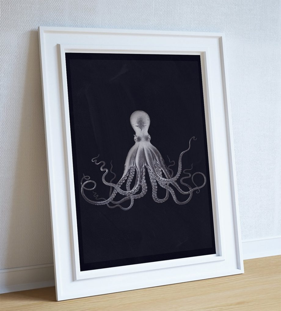 Lord Bodners Octopus Art Print Sea Squid Vintage Nautical Decor Ocean Wall Art - Giclee Print on Cotton Canvas and Paper Canvas