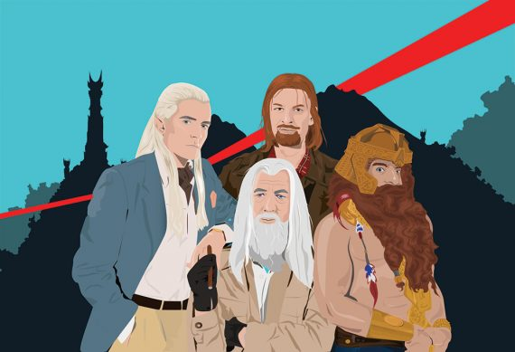 Lord of the Rings as A-Team Mashup Large Poster Original Illustration Giclee Print on Satin or Cotton Canvas Pop Culture Geek Gandalf