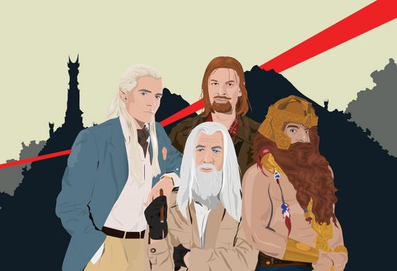 Lord of the Rings as A-Team Mashup Poster Original Illustration Giclee Print on Paper Canvas Pop Culture Geek Gandalf