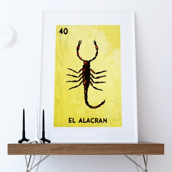 Loteria El Alacran Mexican Retro Illustration Art Print Vintage Giclee Large Poster on Satin or Cotton Canvas Wall Decor