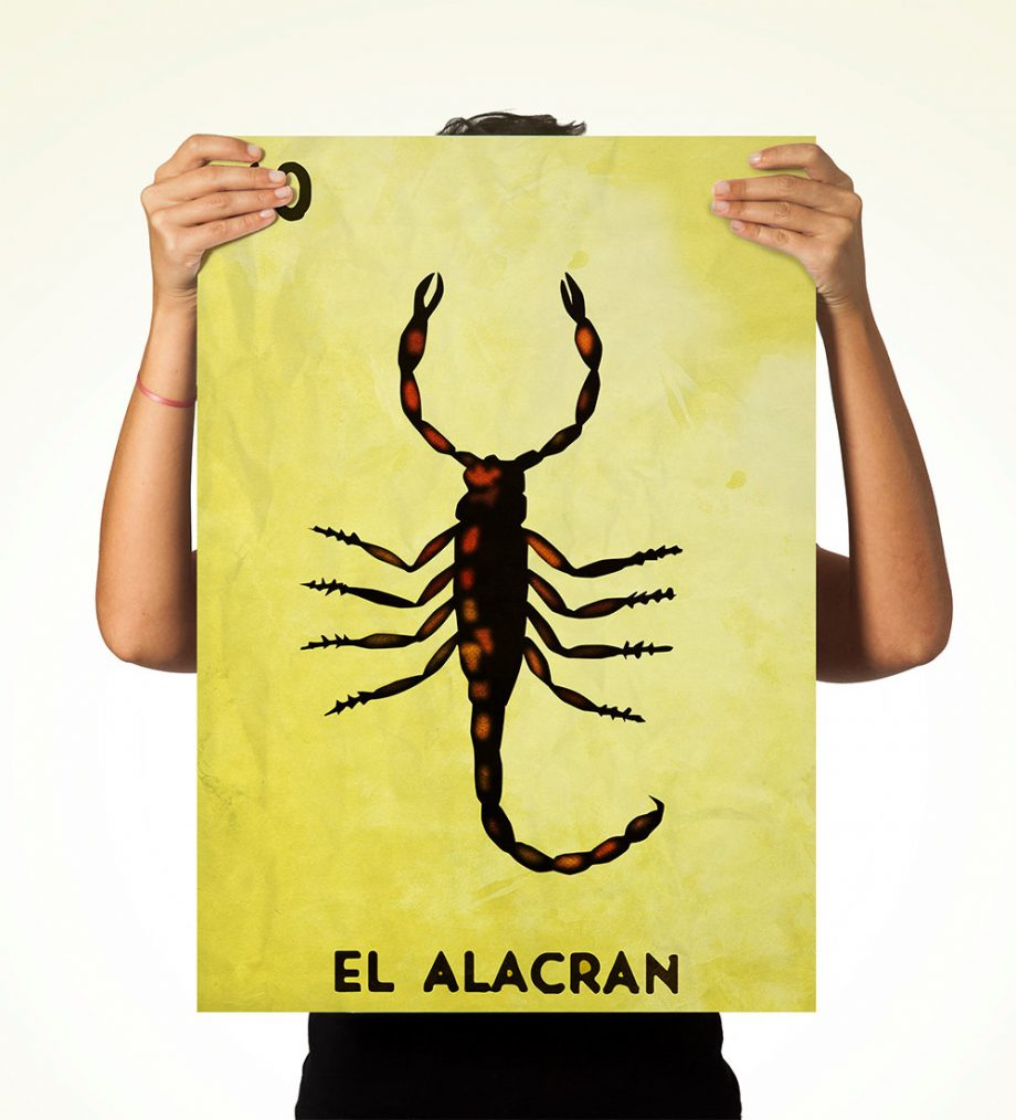 Loteria El Alacran Mexican Retro Illustration Art Print Vintage Giclee on Cotton Canvas and Paper Canvas Poster Wall Decor