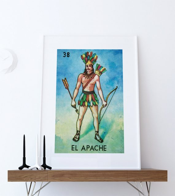 Loteria El Apache Mexican Retro Illustration Art Print Vintage Giclee Poster Wall Decor on Cotton Canvas and Satin Photo Paper