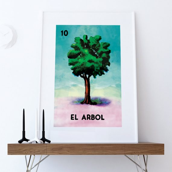 Loteria El Arbol Mexican Retro Illustration Art Print Vintage Giclee on Cotton Canvas and Paper Canvas Poster Wall Decor