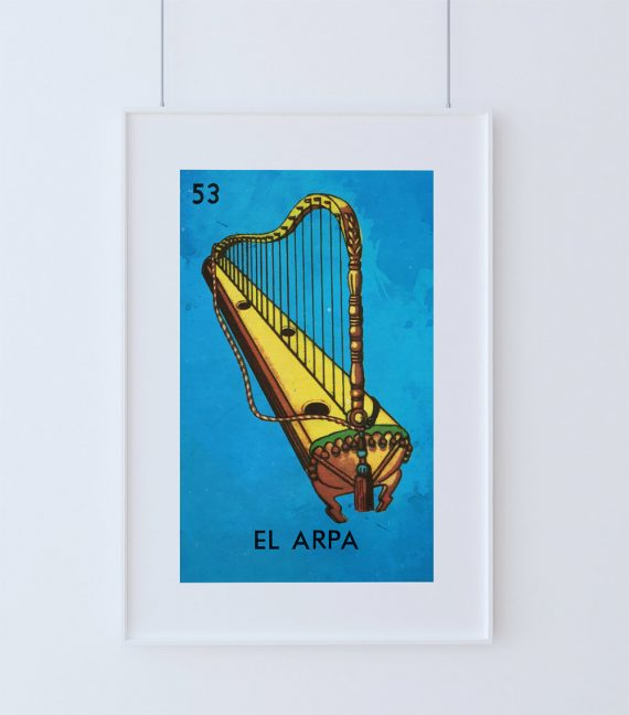 Loteria El Arpa Mexican Retro Illustration Art Print Vintage Giclee on Cotton Canvas or Paper Canvas Poster Wall Decor