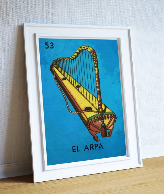 Loteria El Arpa Mexican Retro Illustration Art Print Vintage Giclee Poster Wall Decor on Cotton Canvas and Satin Photo Paper