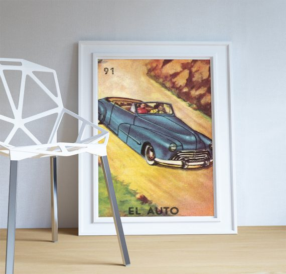 Loteria El Auto Mexican Retro Illustration Art Print Vintage Giclee on Cotton Canvas or Paper Canvas Poster Wall Decor