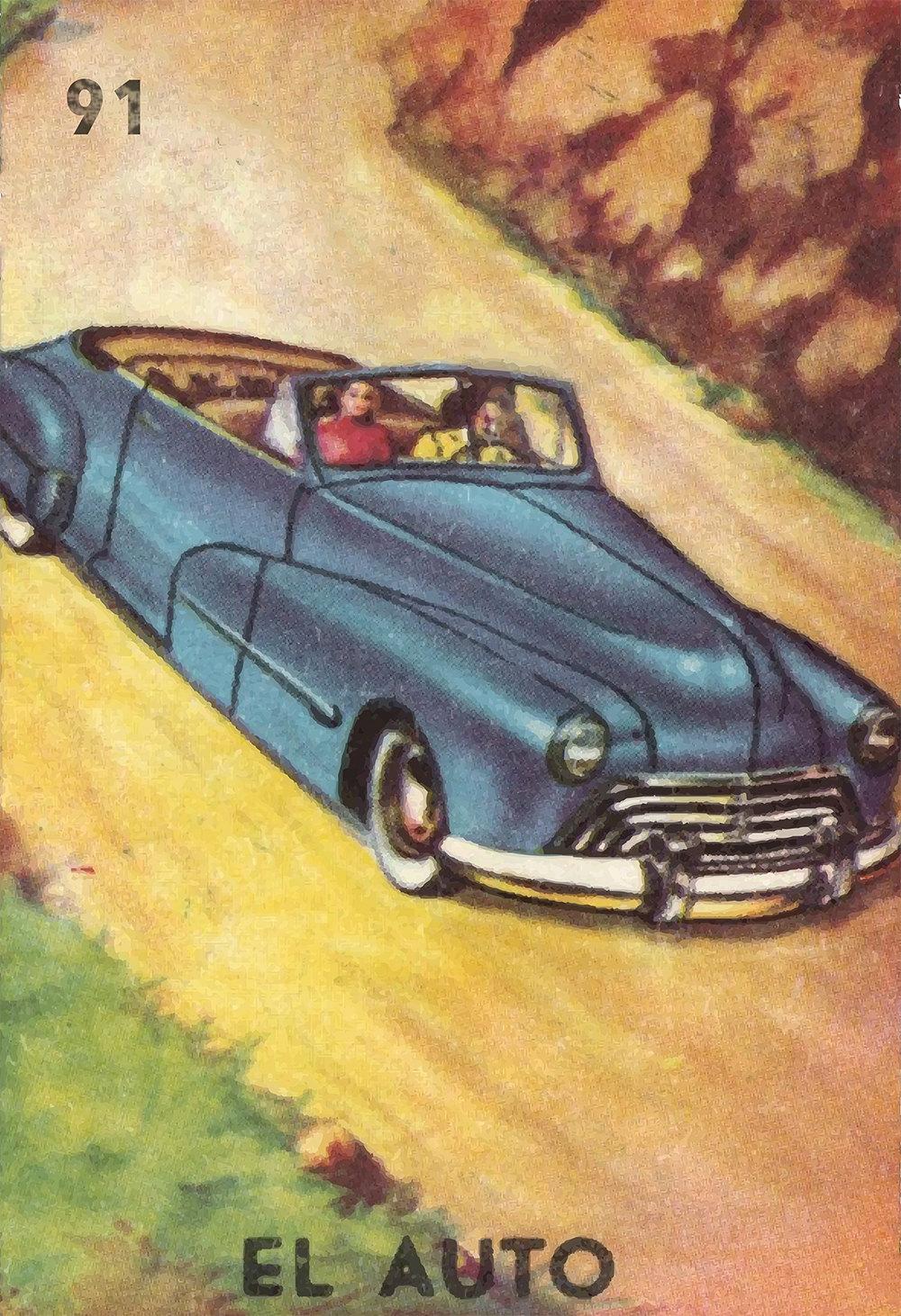 Loteria El Auto Mexican Retro Illustration Art Print Vintage Giclee ...