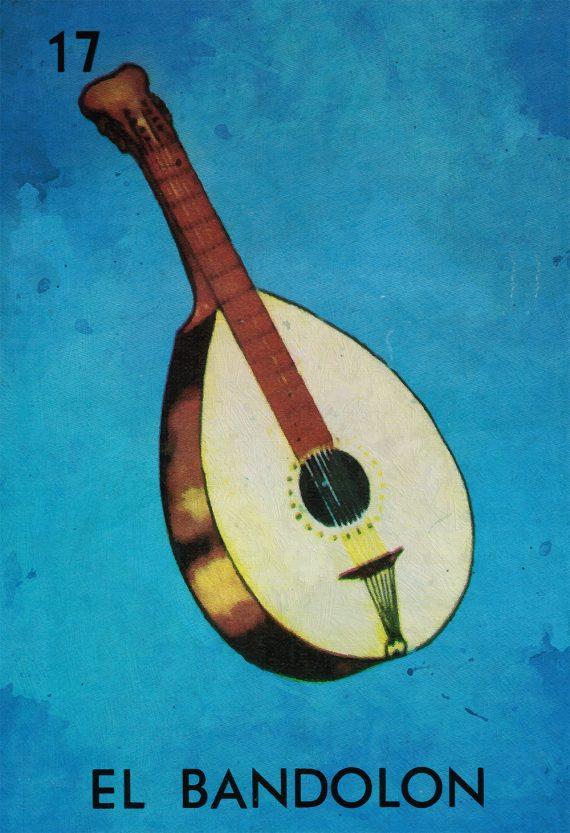 Loteria El Bandolon Mexican Retro Illustration Art Print Vintage Giclee on Cotton Canvas or Paper Canvas Poster Wall Decor