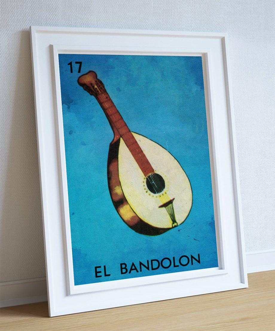 Loteria El Bandolon Mexican Retro Illustration Art Print Vintage Giclee Poster Wall Decor on Cotton Canvas and Satin Photo Paper