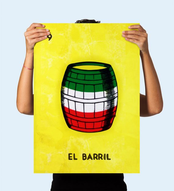 Loteria El Barril Mexican Retro Illustration Art Print Vintage Giclee on Cotton Canvas and Paper Canvas Poster Wall Decor