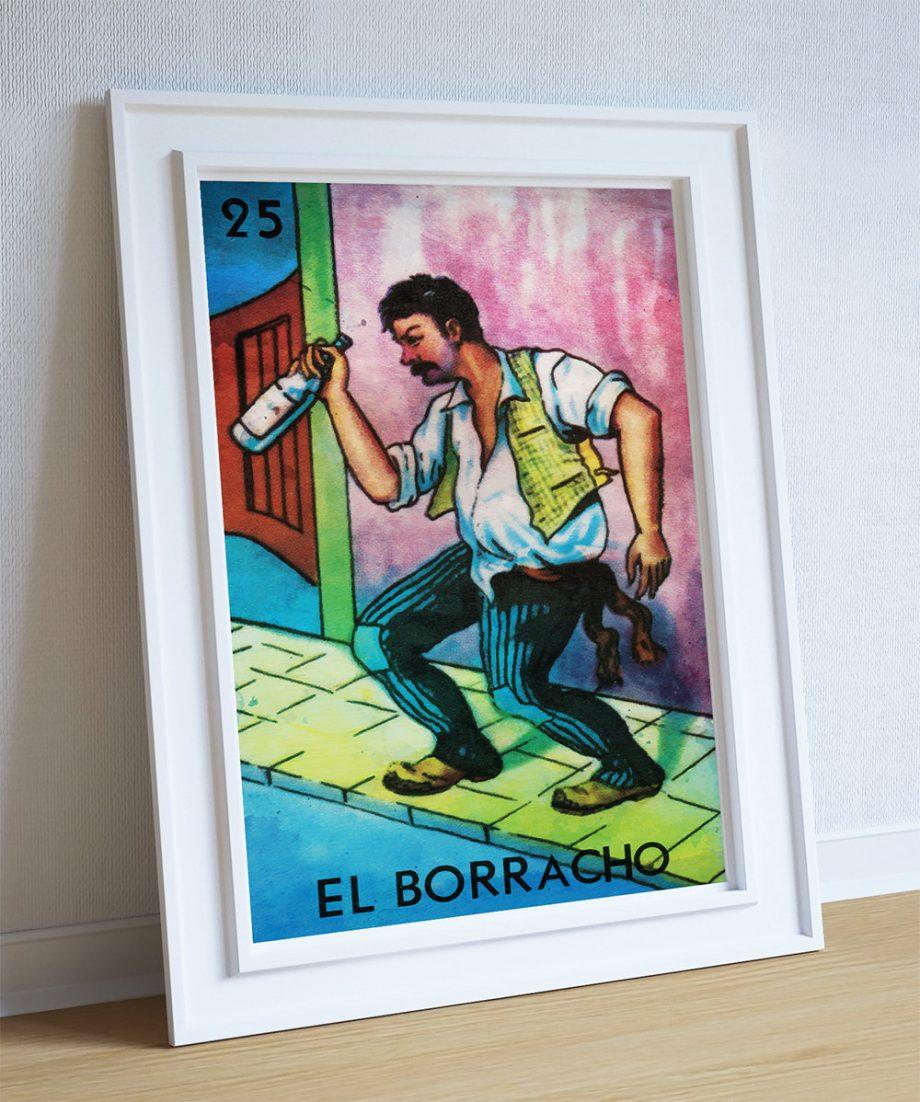 Loteria El Borracho Mexican Retro Illustration Art Print Vintage Giclee on Cotton Canvas or Paper Canvas Poster Wall Decor