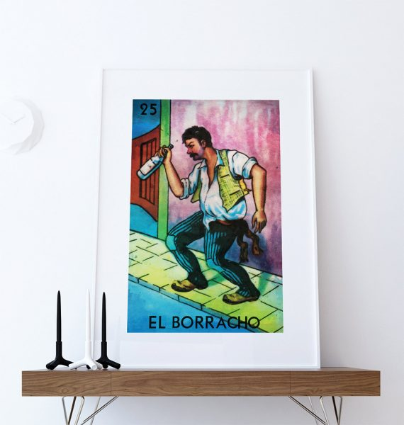 Loteria El Borracho Mexican Retro Illustration Art Print Vintage Giclee Poster Wall Decor on Cotton Canvas and Satin Photo Paper