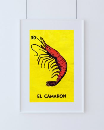 Loteria El Camaron Mexican Retro Illustration Art Print Vintage Giclee on Cotton Canvas and Paper Canvas Poster Wall Decor