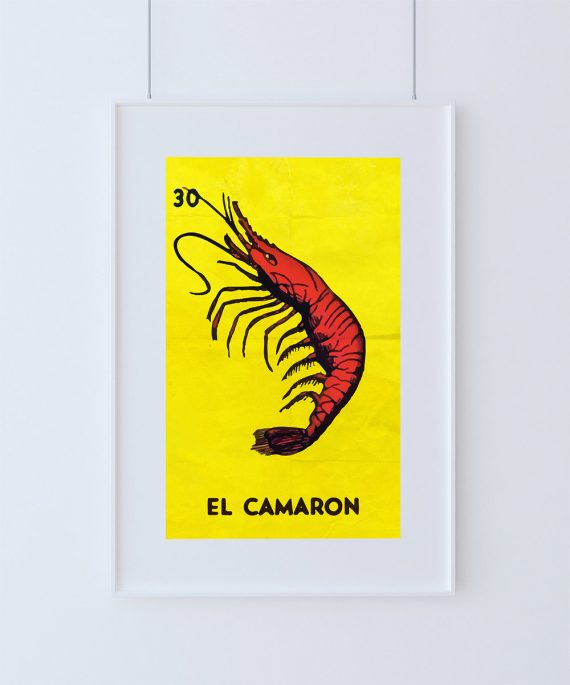 Loteria El Camaron Mexican Retro Illustration Art Print Vintage Giclee Poster Wall Decor Large Giclee on Cotton Canvas & Satin Photo Paper