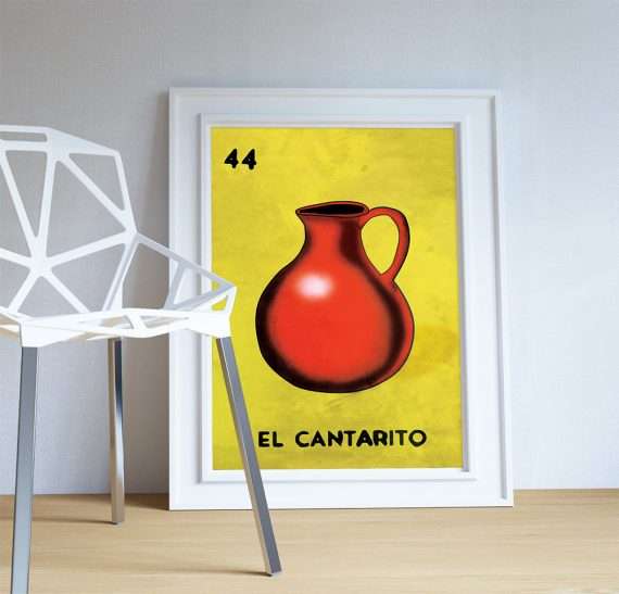 Loteria El Cantarito Mexican Retro Illustration Art Print Vintage Giclee on Cotton Canvas and Paper Canvas Poster Wall Decor