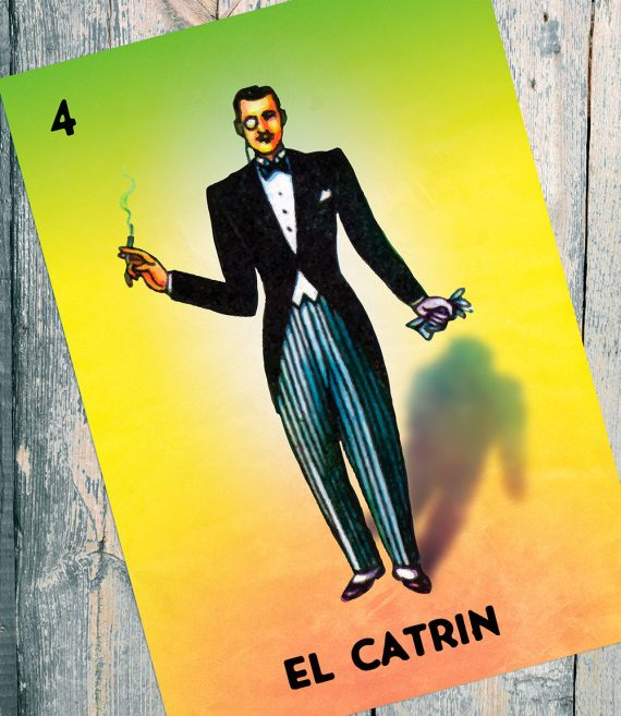 Loteria El Catrin Mexican Retro Illustration Art Print Vintage Giclee on Cotton Canvas and Paper Canvas Poster Wall Decor