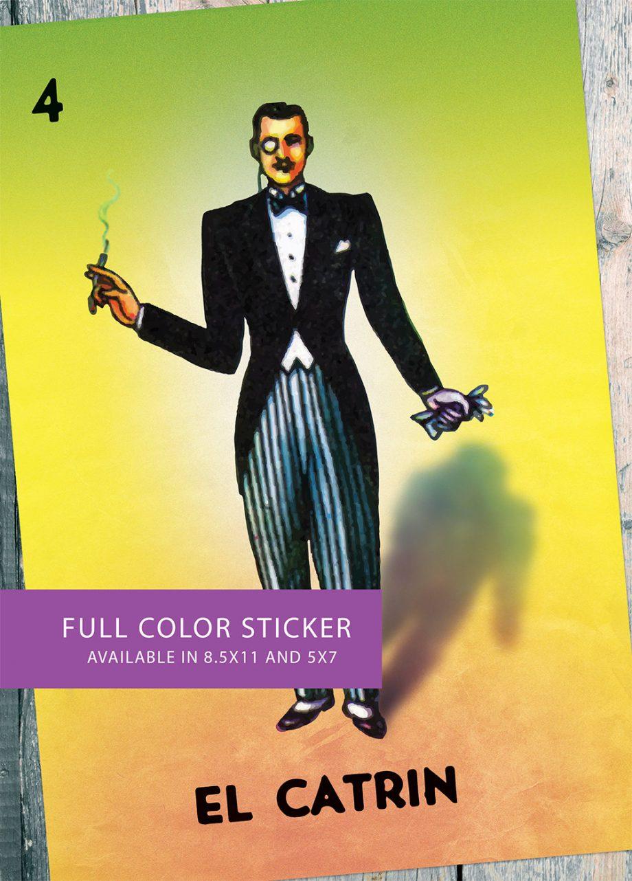 Loteria El Catrin Mexican Retro Illustration Art Sticker