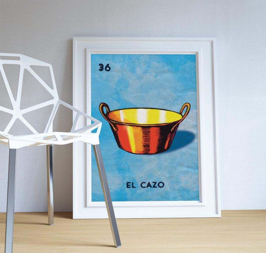 Loteria El Cazo Mexican Retro Illustration Art Print Vintage Giclee on Paper Canvas Poster Wall Decor on Cotton Canvas and Paper Canvas
