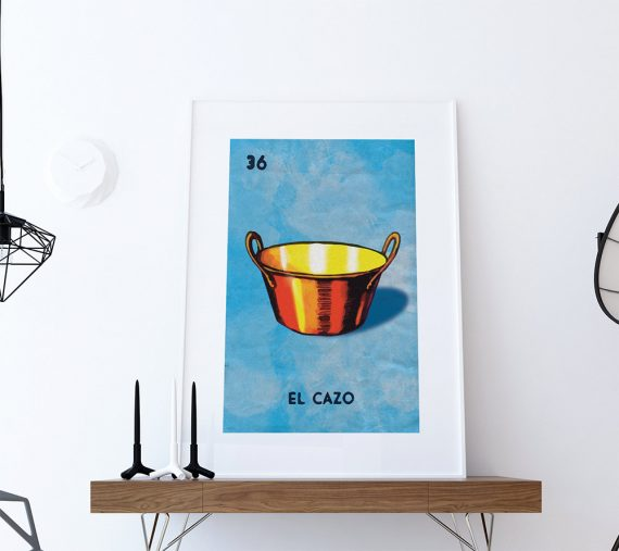 Loteria El Cazo Mexican Retro Illustration Art Print Vintage Giclee on Satin or Cotton Canvas Large Poster Wall Decor and Paper Canvas
