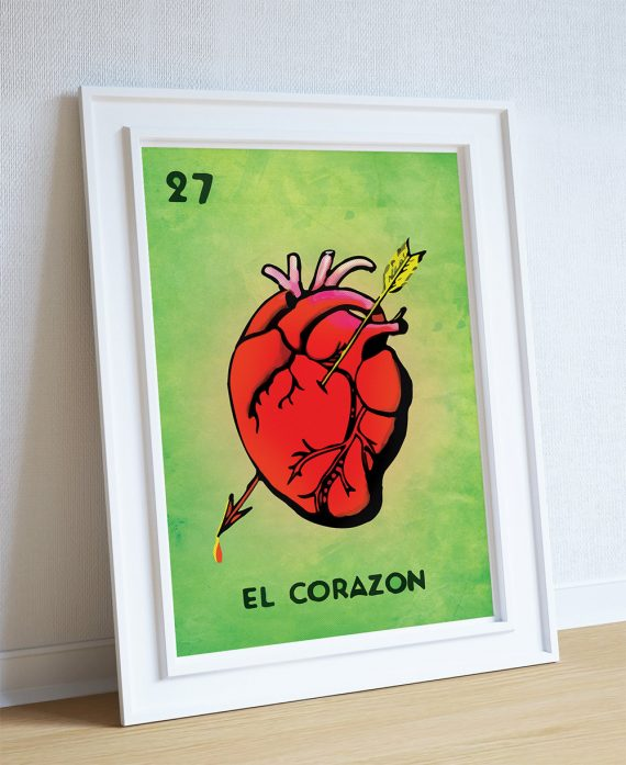 Loteria El Corazon Mexican Retro Illustration Art Print Vintage Giclee on Cotton Canvas and Paper Canvas Poster Wall Decor