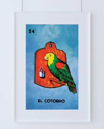 Loteria El Cotorro Mexican Retro Illustration Art Print Vintage Giclee on Cotton Canvas and Paper Canvas Poster Wall Decor