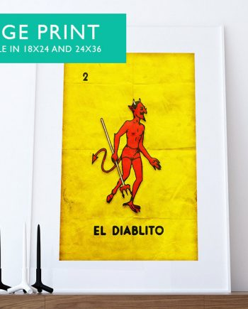 Loteria El Diablito Mexican Retro Poster Red Devil Illustration Wall Art Print Vintage Bingo - Large Giclee on Cotton Canvas and Satin Paper