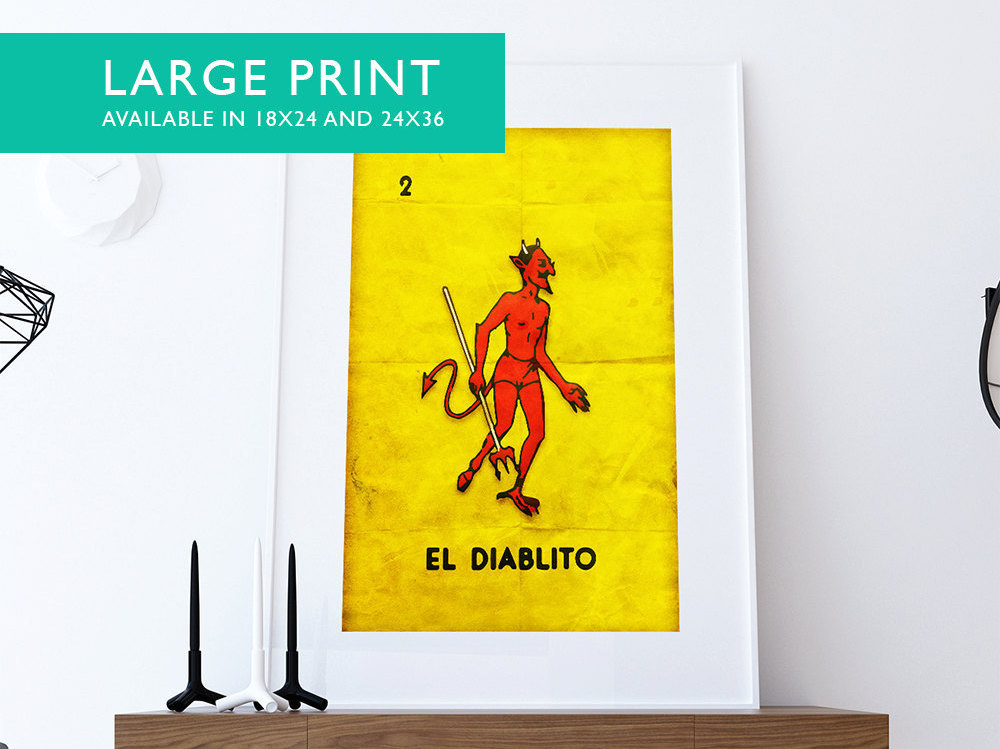 Loteria El Diablito Mexican Retro Poster Red Devil Illustration Wall ...