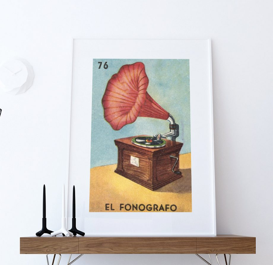 Loteria El Fonografo Mexican Retro Illustration Art Print Vintage Giclee on Cotton Canvas or Paper Canvas Poster Wall Decor