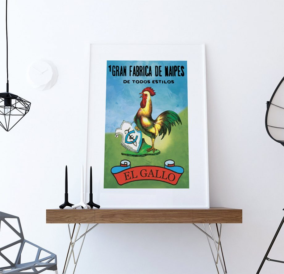 Loteria El Gallo Mexican Retro Illustration Art Print Vintage Giclee on Cotton Canvas Paper Canvas Poster Wall Decor