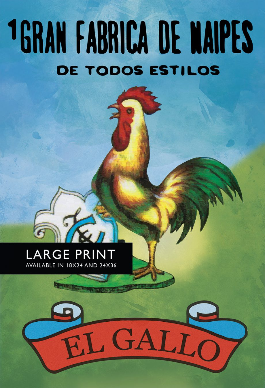 Loteria El Gallo Mexican Retro Illustration Art Print Vintage Giclee Poster Wall Decor - Large Giclee on Cotton Canvas and Satin Photo Paper