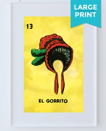 Loteria El Gorrito Mexican Retro Illustration Large Poster Art Print Vintage Giclee on Satin or Cotton Canvas Wall Decor
