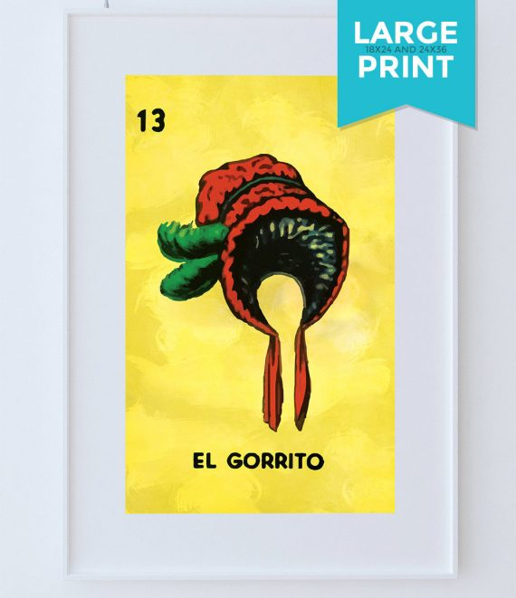 Loteria El Gorrito Mexican Retro Illustration Large Poster Art Print Vintage Giclee on Satin or Cotton Canvas Wall Decor