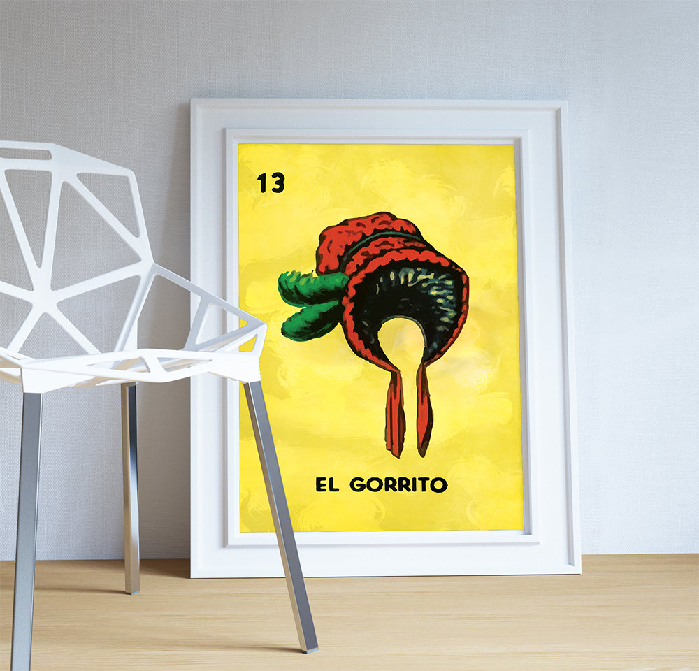 Loteria El Gorrito Mexican Retro Illustration Large Poster Art Print ...