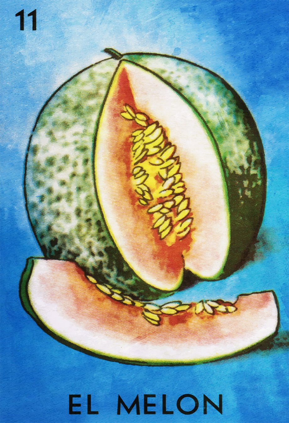 Loteria El Melon Mexican Retro Illustration Art Print Vintage Giclee Poster Wall Decor on Cotton Canvas and Satin Photo Paper