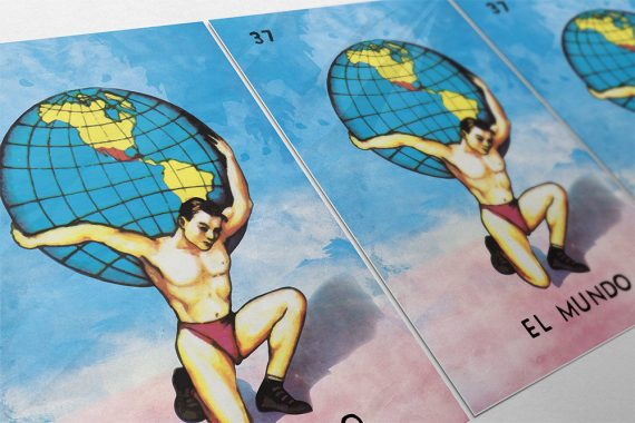 Loteria El Mundo Mexican Retro Illustration Art Print Vintage Giclee on Cotton Canvas and Paper Canvas Poster Wall Decor