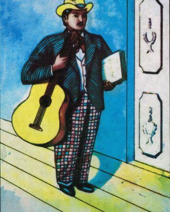 Loteria El Musico Mexican Retro Illustration Art Print on Paper Canvas and Cotton Canvas