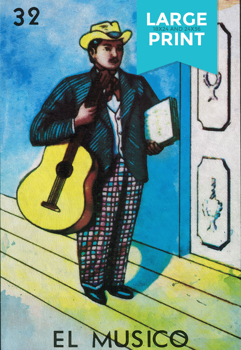 Loteria El Musico Mexican Retro Illustration Large Poster Art Print on Satin or Cotton Canvas