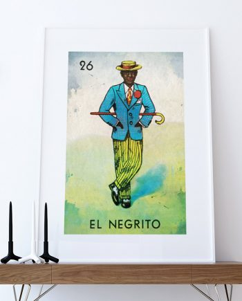 Loteria El Negrito Mexican Retro Illustration Art Print Vintage Giclee on Cotton Canvas or Paper Canvas Poster Wall Decor