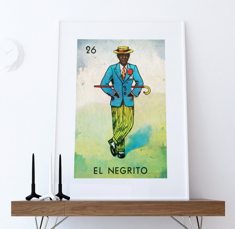 Loteria El Negrito Mexican Retro Illustration Art Print Vintage Giclee Poster Wall Decor on Cotton Canvas and Satin Photo Paper