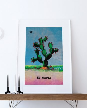 Loteria El Nopal Mexican Retro Illustration Art Print Vintage Giclee on Cotton Canvas and Paper Canvas Poster Wall Decor