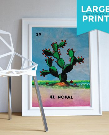 Loteria El Nopal Mexican Retro Illustration Large Poster Art Print Vintage Giclee on Satin or Cotton Canvas Poster Wall Decor