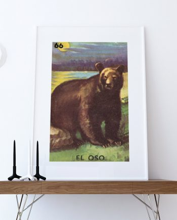 Loteria El Oso Mexican Retro Illustration Art Print Vintage Giclee on Cotton Canvas or Paper Canvas Poster Wall Decor