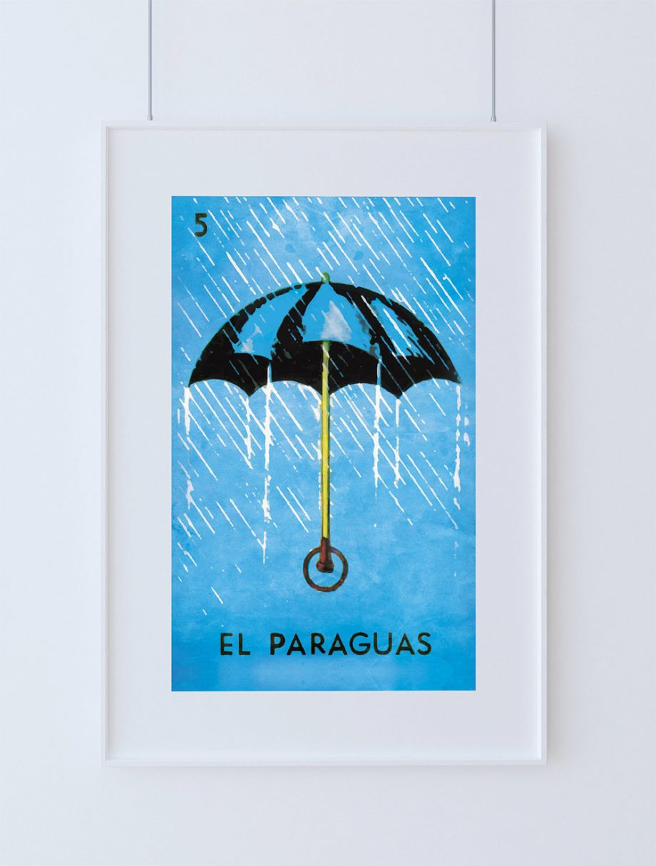 Loteria El Paraguas Mexican Retro Illustration Art Print Vintage Giclee on Cotton Canvas and Paper Canvas Poster Wall Decor