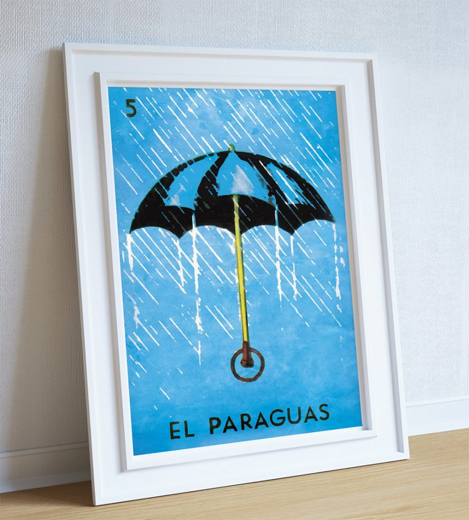Loteria El Paraguas Mexican Retro Illustration Art Print Vintage Giclee Poster Wall Decor Large Giclee on Cotton Canvas and Satin Paper