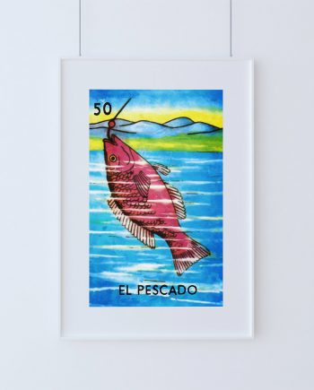 Loteria El Pescado Mexican Retro Illustration Art Print Vintage Giclee on Cotton Canvas and Paper Canvas Poster Wall Decor
